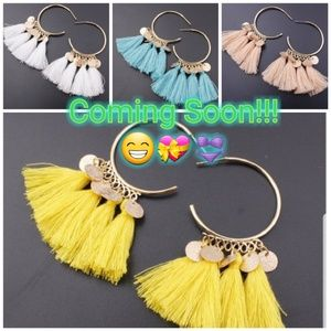 New tassel hoop earrings! Fun summer colors!